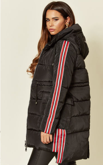 Black Long Parka Jacket With Sporty Side Stripe, Deep Front Pockets And Faux Fur Lined Hood And Half Body