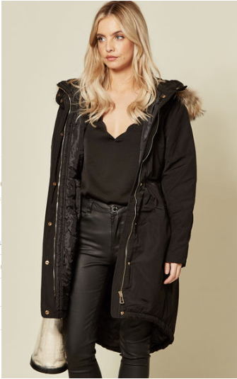 Black Fishtail Tailored Cut Long Length Puffa Coat With Tan Faux Fur Hooded Trim And Back Buckle Belt Detail