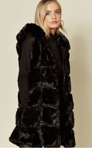 Black Faux Fur Thigh Length Gilet With Pom Pom Hood
