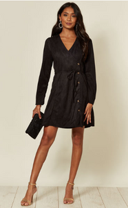 Black Long Sleeve Faux Suede Mini Dress With Tie Fastening