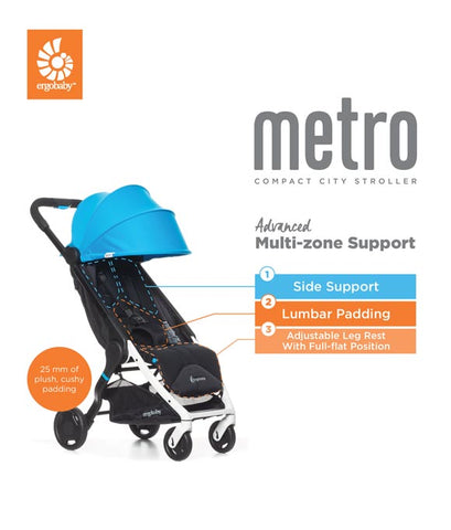 Finally, ergonomic comfort comes to ultra-compact strolling. As a parent, you always want the best for your child. Your unconditional love means that you never skimp on comfort, from your gentle touch to the choices you make for clothes, blankets, and gear. That's why we at Ergobaby created a travel stroller that doesn't compromise when it comes to comfort.  The Metro Stroller delivers all the comfort baby deserves in the compact package parents need. Packed with plush, cushy padding and nap-worthy extras like an adjustable leg rest and spring suspension; even busy, bumpy city streets can't keep baby from sweet slumber.  Delivering 40% more padding than other ultra-compact strollers, Metro is THE comfortable ultra-compact. Small enough to stash under restaurant tables, Metro makes it easy to go everywhere you want to go with baby in tow. Spring suspension and large back tires easily absorb sidewalk cracks and curbs – providing a smooth ride for baby Metro delivers a true one-hand, easy fold; no reaching under the stroller to fold this one Lightweight – only 13.9 lbs. Deep recline and adjustable leg rest allow little one to kick up their feet and sleep like a baby Ample storage basket and hidden seat-back pocket Durable, puncture-free PU rubber tires Removable, machine-washable seat pad Large UV-50 sun canopy Coverable mesh panel for added ventilation on hot days Weather Shield accessory available Backpack-style Carry Bag accessory available Peace of mind: 2-year warranty Folded dimensions: 20.8 x 16.9 x 9 inches