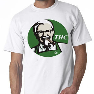 KFC T Shirt sanders pot joint bong weed graphic T-shirt Funny Design short sleeve Tee shirt awesome Healthy living Fashion