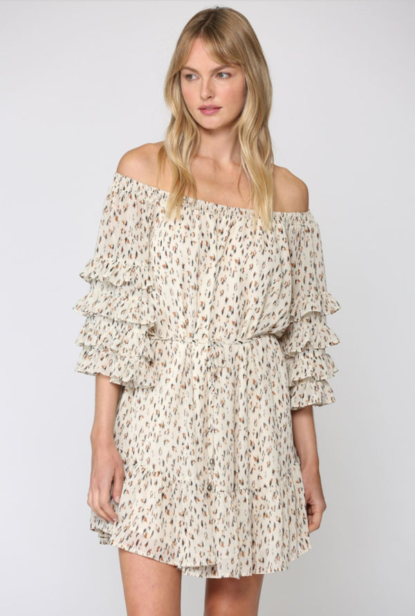 DITSY PRINT RUFFLE SLEEVE DRESS