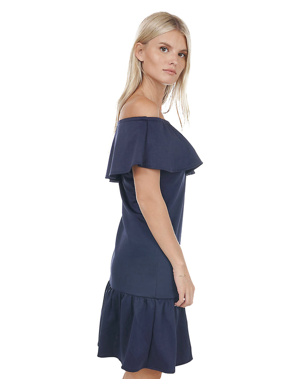 Off-the-Shoulder Ruffle Dress in Navy