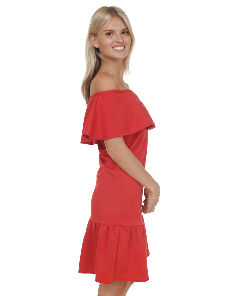 Off-the-Shoulder Ruffle Dress in Red