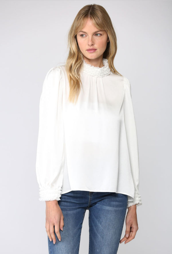 HIGH COLLAR SATIN BLOUSE RUFFLE TRIM