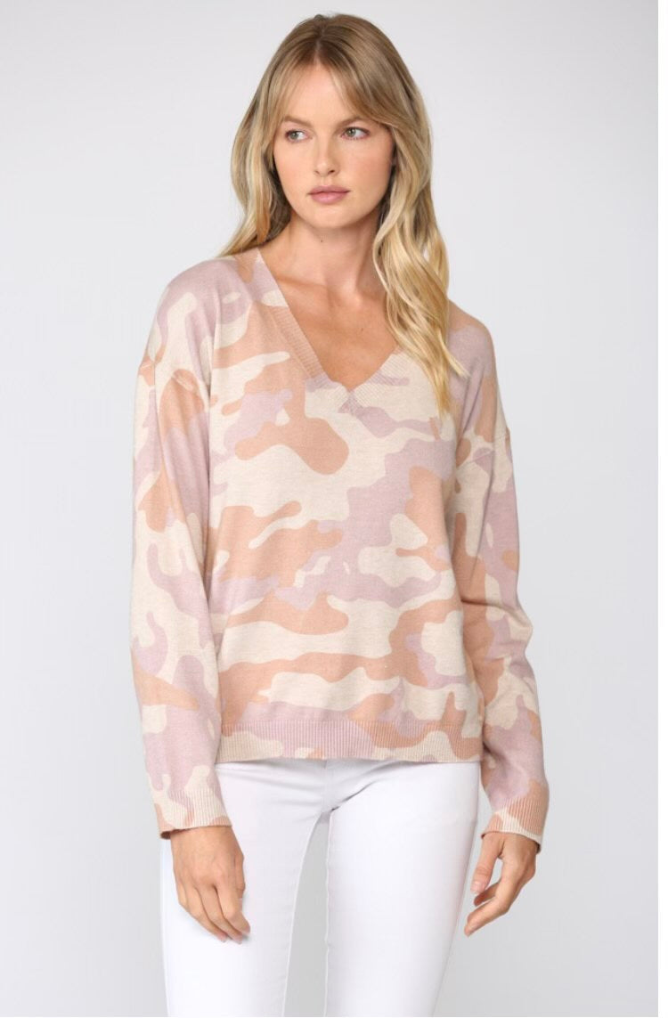 Dusty Rose Camo V-Neck Pullover