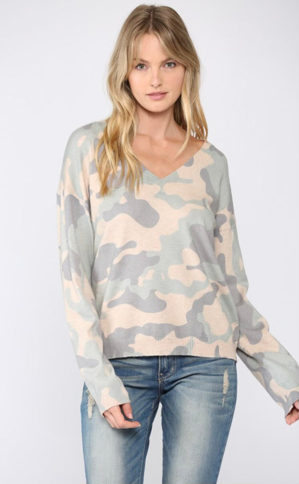 Blue Camo V-Neck Sweater