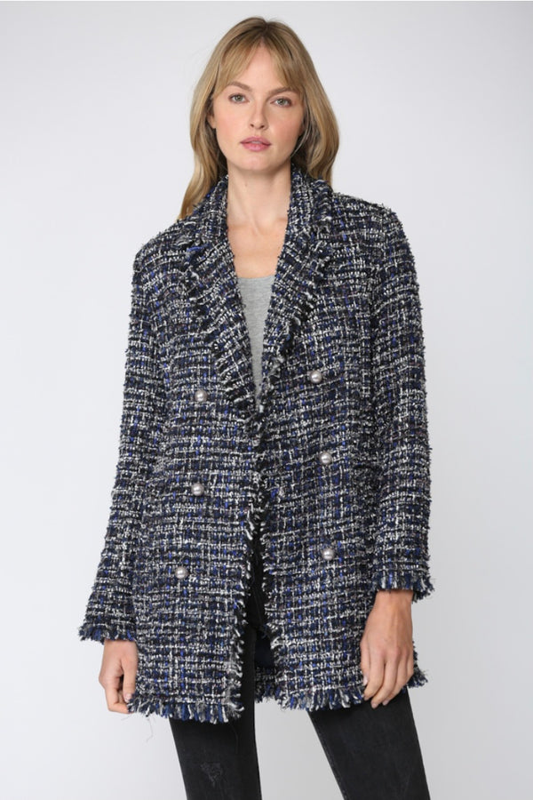 TWEED COAT WITH PEARL BUTTON