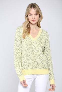 LEOPARD LIGHT WEIGHT V-NECK SWEATER