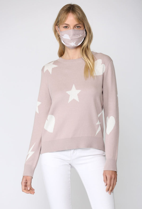 STAR, HEART, LIGHTNING PRINT DISTRESSED SWEATER with MATCHING MASK
