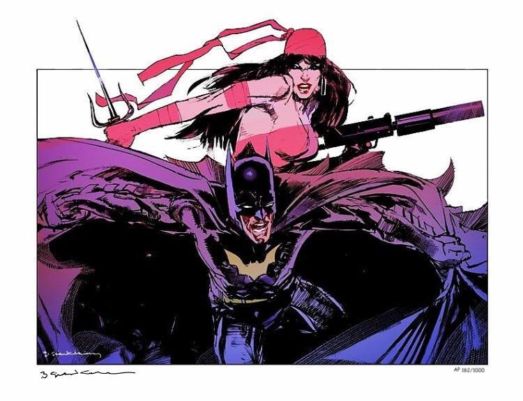 Batman Elektra S&N'd AP Limited Art Print