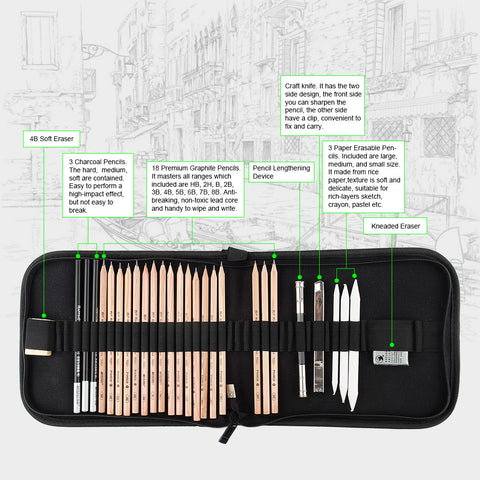 DrawKit™ - 29 PCS Portable & Professional Drawing Kit