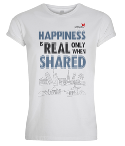 "Tshirt Man travel ""Happiness is real only when shared"""