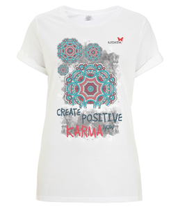 "Tshirt Oriental ""Create positive karma now"""