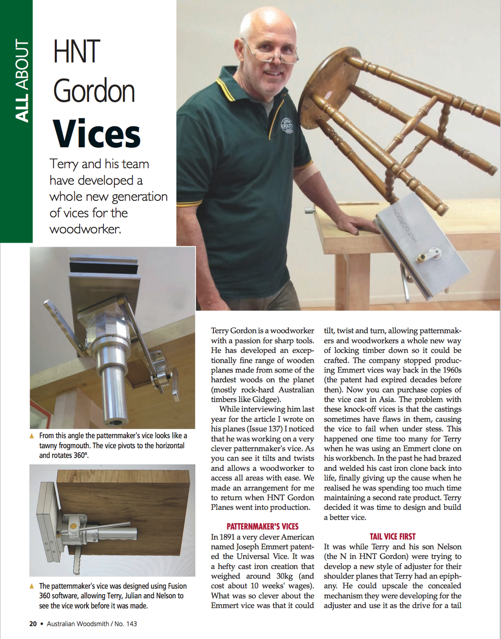 Australian Wood Smith Magazine Article on HNT Gordon Vices