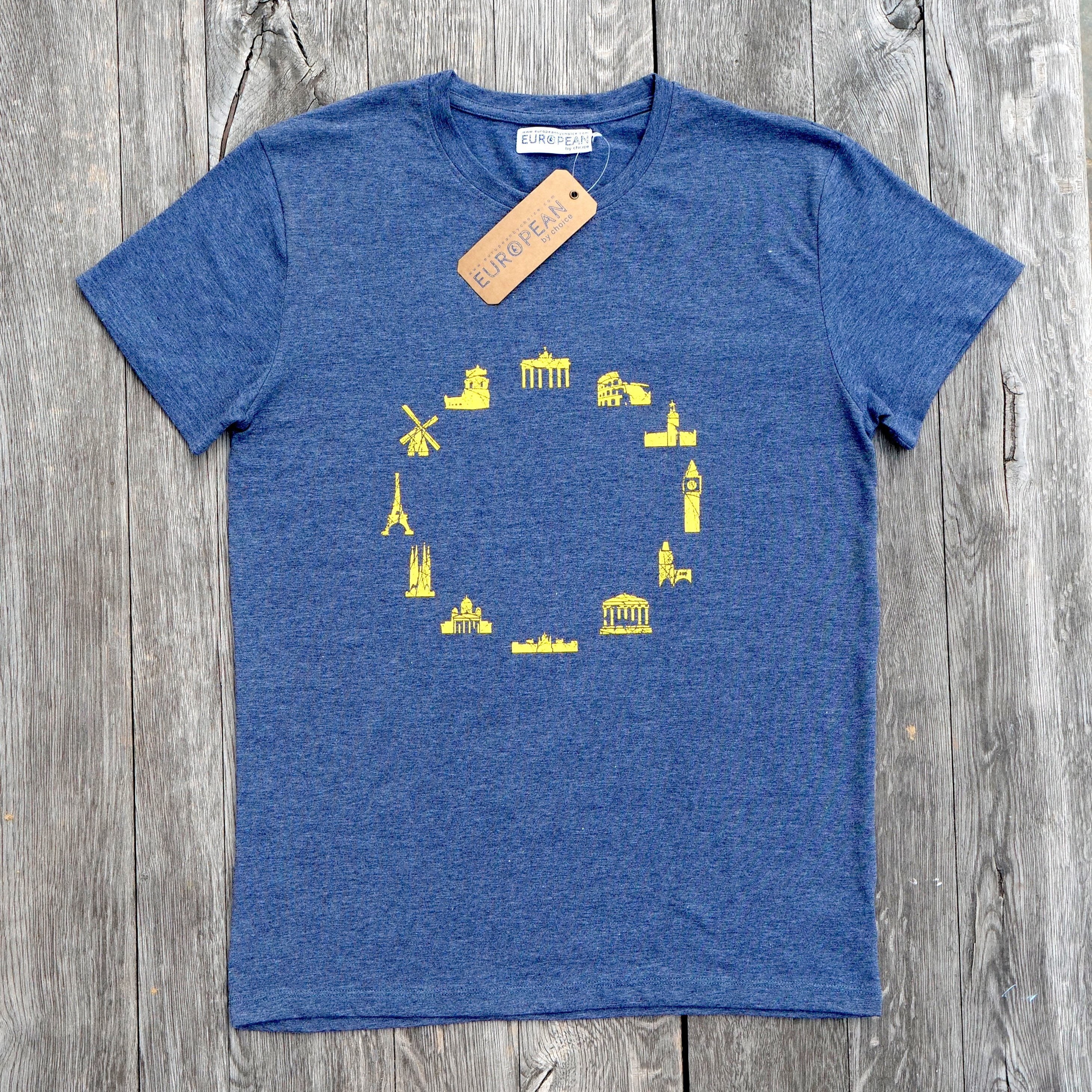 EUROPEAN Landmarks T-Shirt for men overview with hang tag and neck label on wooden background