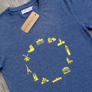 EUROPEAN Landmarks T-Shirt for men closer up with hang tag and neck label on wooden background
