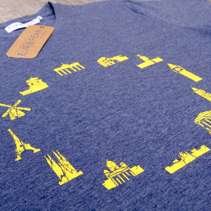 EUROPEAN Landmarks T-Shirt for men close up with hang tag and neck label on wooden background