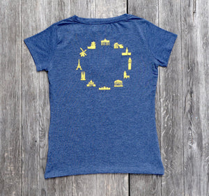 EUROPEAN T-Shirt with landmarks for women overview from the back on wooden background
