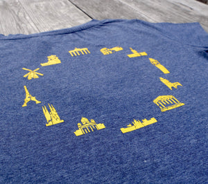 EUROPEAN T-Shirt for women with landmarks closer up of landmarks on wooden background