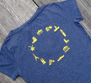 EUROPEAN T-Shirt for women with landmarks close up of landmarks on wooden background