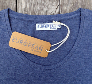 Detail of hang tang for EUROPEAN by choice T-shirt for women with HATS design. Hang tag and label present and shown in detail and close up.