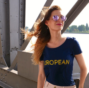 EUROPEAN T-shirt Women - Yellow statement - European By Choice