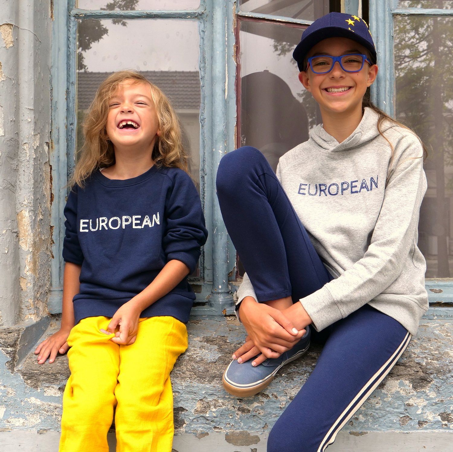 Hoodie Kids - Blue on Gray statement, Hoodie - European Flag Fashion, Clothing & Apparel from  European By Choice