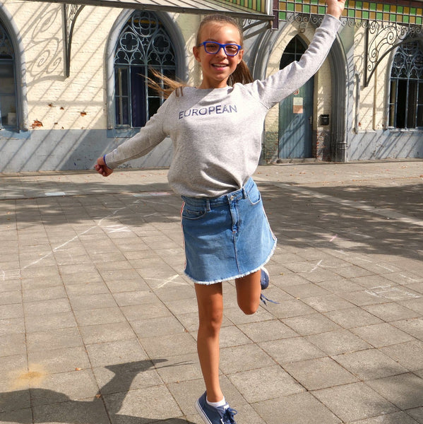 Sweater Kids - Blue on grey statement, Pullover - European Flag Fashion, Clothing & Apparel from  European By Choice