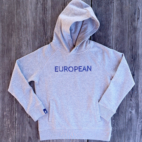 EUROPEAN Hoodie Kids - Blue on grey statement - European By Choice