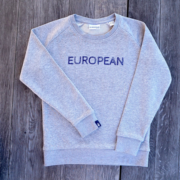EUROPEAN Sweater Kids - Blue on grey statement - European By Choice