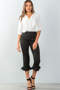 High Waisted Ruffle Pants Black