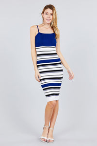 Striped Knit Body Dress Blue