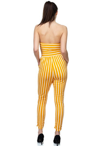 """Cute and Comfy"" Striped Tube Top Jumpsuit In Yellow"