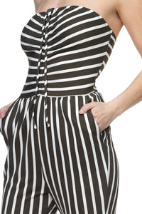 """Cute and Comfy"" Stripe Tube Top Jumpsuit Olive"