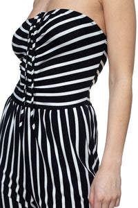 """Cute and Comfy"" Stripe Tube Top Jumpsuit In Black and White"