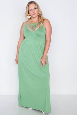 Summertime Caged Maxi Dress Sage