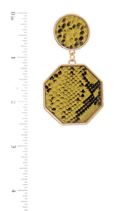 Snake Pattern Octagon Shape Post Drop Earring