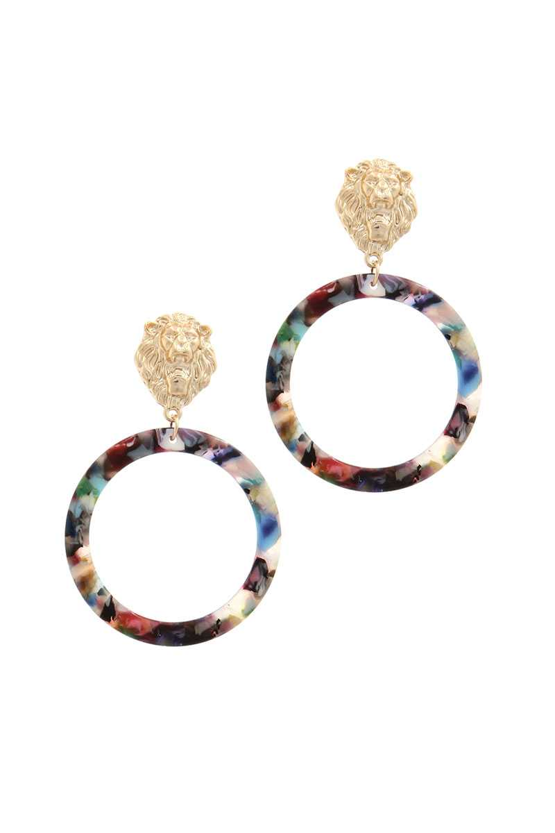 Ring Lion Linked Drop Earring