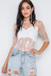 Laced Mesh Bodysuit White