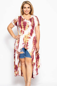 Tie Dye  Casual High Low Top in Red/Gold