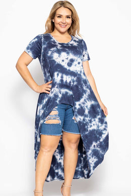 Tie Dye  Casual High Low Top in Navy