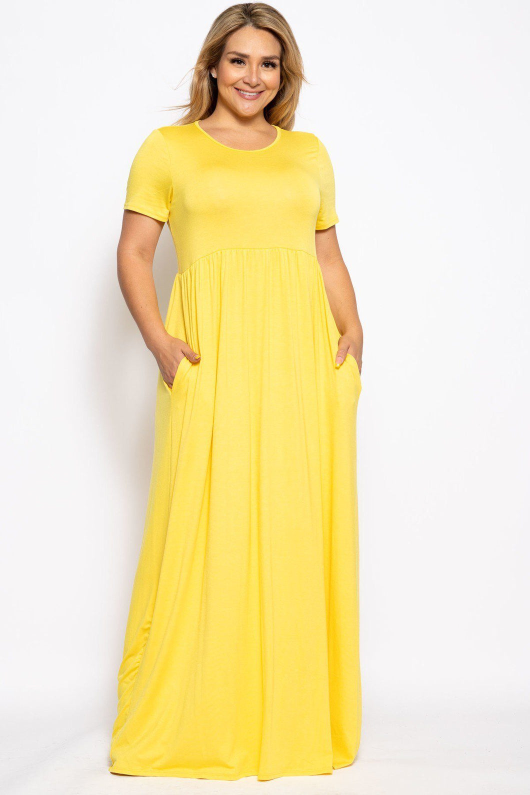 """Cut and Comfy"" Maxi Dress in Yellow"