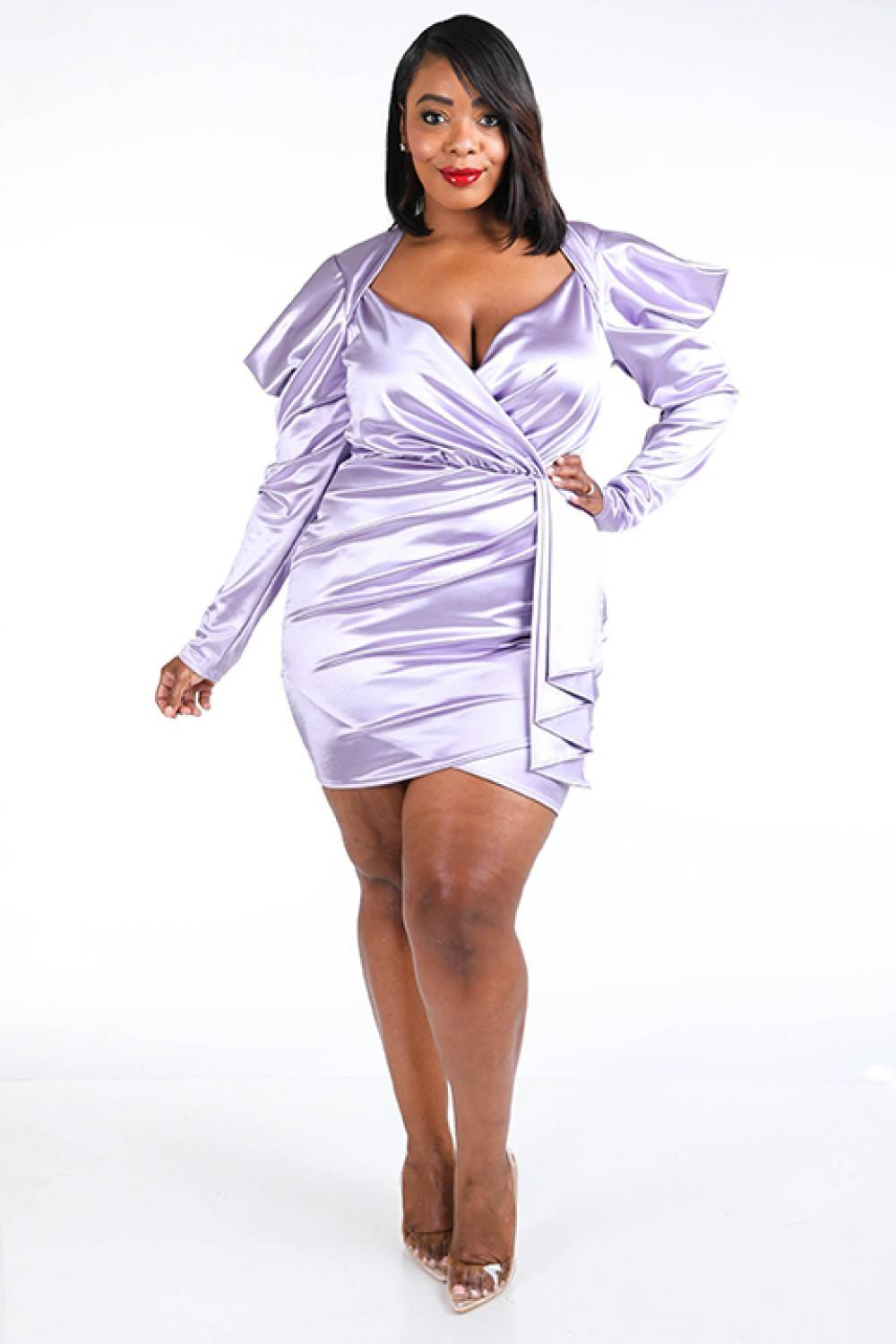 """I'm The One"" Puffy  Sleeve Mini Dress In Lavender"
