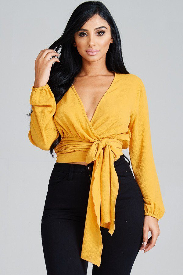So Fierce Tie Wrap Around Top in Mustard