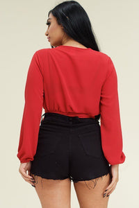 So Fierce Tie Wrap Around Top in Red