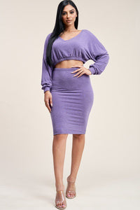 Date Night Two Piece Crop Skirt Set in Purple