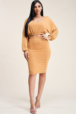 Date Night Two Piece Crop Skirt Set in Mustard