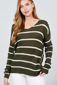 You Got Me Twisted Stripe Sweater Top In Olive